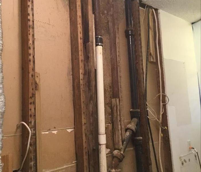 Moldy wall needing water damage removal and repair.