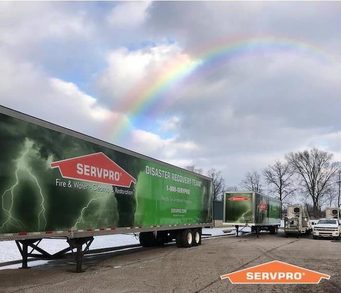 SERVPRO trailer with rainbow over it
